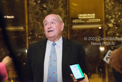 """Former Governor George """"Sonny"""" Perdue (Republican of Georgia) speaks with the press following a meeting with United States President-elect Donald Trump at Trump Tower in New York, New York, USA on November 30, 2016. <br /> Credit: Albin Lohr-Jones / Pool via CNP"""