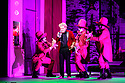 """EMBARGOED UNTIL 23:00 FRIDAY 18 OCTOBER 2019: English National Opera presents """"The Mask of Orpheus"""", by Sir Harrison Birthwhistle, libretto by Peter Zinovieff, at the London Coliseum, in its first London restaging in the 30 years since its premiere, coinciding with the celebration of Sir Harrison's 85th birthday. Directed by Daniel Kramer, with lighting design by Peter Mumford, set design by Lizzie Clachan and costume design by Daniel Lismore. Picture shows: Peter Hoare (Orpheus the Man) with David Ireland, William Morgan and Simon Wilding (the Judges of the Dead)."""