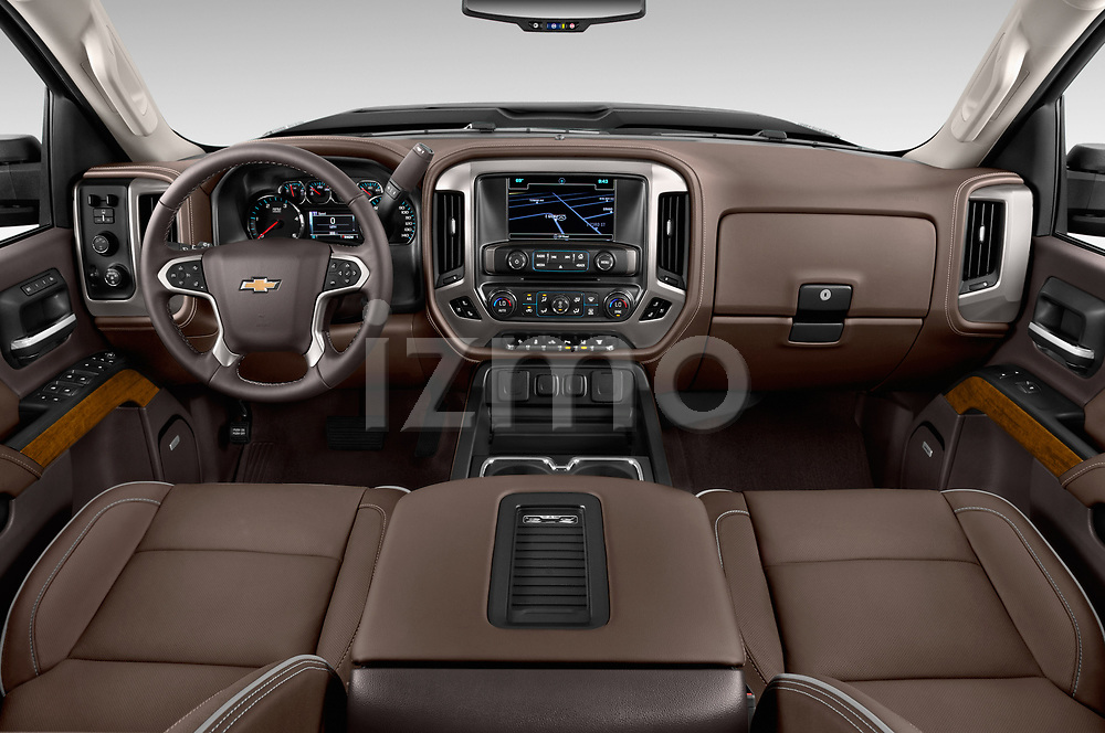 Stock photo of straight dashboard view of 2017 Chevrolet Silverado-2500Hd High-Country-Crew-LWB 4 Door Pickup Dashboard