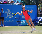 June 17th 2017, Nottingham, England;WTA Aegon Nottingham Open Tennis Tournament day 6;  Forehand return from Johanna Konta of Great Britain in the semi final against Magdalena Rybarikova of The Slovak Republic