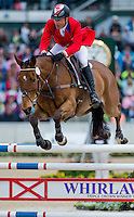KILRODAN ABBOTT, ridden by Peter Barry (CAN), competes during Stadium Jumping at the Rolex 3-Day Event at the Kentucky Horse Park in Lexington, Kentucky on April 28, 2013.