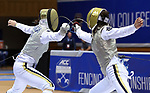 DURHAM, NC - FEBRUARY 25: Notre Dame's Sabrina Massialas (left) and teammate Lee Kiefer (right) in the Women's Foil championship match. The Atlantic Coast Conference Fencing Championships were held on February, 25, 2017, at Cameron Indoor Stadium in Durham, NC.