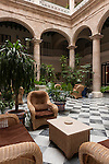 Havana, Cuba; the colonial style lobby of the Hotel Florida