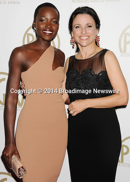 Pictured: Lupita Nyong'o; Julia-Louis Dreyfus<br /> Mandatory Credit &copy; Joseph Gotfriedy/Broadimage<br /> 25th Annual Producers Guild Awards<br /> <br /> 1/19/14, Beverly Hills, California, United States of America<br /> <br /> Broadimage Newswire<br /> Los Angeles 1+  (310) 301-1027<br /> New York      1+  (646) 827-9134<br /> sales@broadimage.com<br /> http://www.broadimage.com