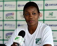 CALI-COLOMBIA,10-07-2019.Carmen Rodallega Julio durante la presentacion del equipo femenino del Deportivo Cali./ Carmen Rodallega Julio during the presentation of the women's team of Deportivo Cali. Photo: VizzorImage/ Nelson Rios / Contribuidor