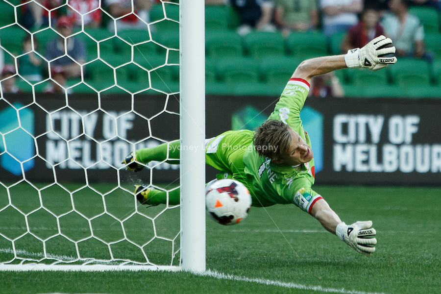 Andrew REDMAYNE of the Heart is unable to save a penalty kick in the round two match between Melbourne Heart and the Central Coast Mariners in the Australian Hyundai A-League 2013-24 season at AAMI Park, Melbourne, Australia.<br /> This image is not for sale. Please visit zumapress.com for image licensing.