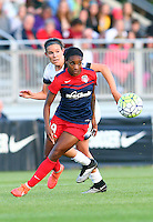 Boyds, MD - Saturday May 07, 2016: Portland Thorns FC defender Emily Menges (4) behind Washington Spirit forward Crystal Dunn (19) during a regular season National Women's Soccer League (NWSL) match at Maureen Hendricks Field, Maryland SoccerPlex. Washington Spirit tied the Portland Thorns 0-0.