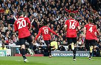 Manchester United's Robin Van Persie, Danny Welbeck, Michael Carrick and Phil Jones celebrate goal during Champions League 2012/2013 match.February 12,2013. (ALTERPHOTOS/Alfaqui/Alex Cid-Fuentes)