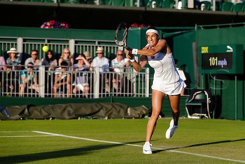 29.06.2015.  Wimbledon, England. The Wimbledon Tennis Championships.  Ladies' Singles first round match between thirty second seed Caroline Garcia (FRA) & Heather Watson (GBR).  Caroline Garcia in action
