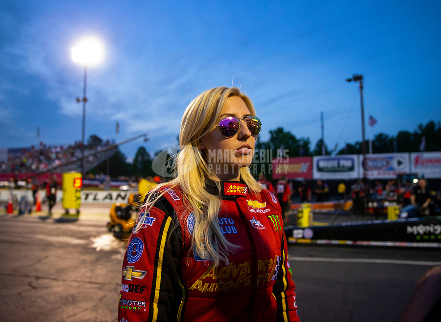May 4, 2018; Commerce, GA, USA; NHRA funny car driver Courtney Force during qualifying for the Southern Nationals at Atlanta Dragway. Mandatory Credit: Mark J. Rebilas-USA TODAY Sports