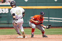 Cal State Fullerton shortstop Timmy Richards (13) makes a play at second base during the NCAA College baseball World Series against the Vanderbilt Commodores Titans on June 15, 2015 at TD Ameritrade Park in Omaha, Nebraska. Vanderbilt beat Cal State Fullerton 4-3. (Andrew Woolley/Four Seam Images)