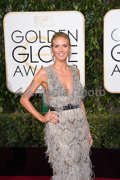 Actress Heidi Klum attends the 73rd Annual Golden Globes Awards at the Beverly Hilton in Beverly Hills, CA on Sunday, January 10, 2016. Photo Credit: HFPA/AdMedia