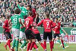 13.04.2019, Weser Stadion, Bremen, GER, 1.FBL, Werder Bremen vs SC Freiburg, <br /> <br /> DFL REGULATIONS PROHIBIT ANY USE OF PHOTOGRAPHS AS IMAGE SEQUENCES AND/OR QUASI-VIDEO.<br /> <br />  im Bild<br /> <br /> 2:0 kopfball Theodor Gebre Selassie (Werder Bremen #23) <br /> Marco Terrazzino (SC Freiburg #13)<br /> Lukas H&ouml;ler / Hoeler (SC Freiburg #09)<br /> Nico Schlotterbeck (SC Freiburg #49)<br /> Milos Veljkovic (Werder Bremen #13)<br /> <br /> Foto &copy; nordphoto / Kokenge