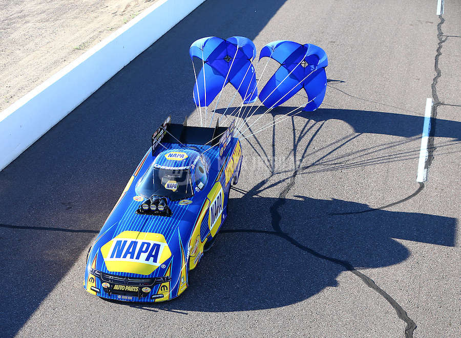 Feb 24, 2017; Chandler, AZ, USA; NHRA funny car driver Ron Capps during qualifying for the Arizona Nationals at Wild Horse Pass Motorsports Park. Mandatory Credit: Mark J. Rebilas-USA TODAY Sports