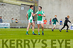 A delighted Jack Barry and captain Eoin Doody at the final whistle against St Senans in the Junior Premier football championship final on Sunday.