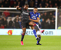 31st January 2020; Cardiff City Stadium, Cardiff, Glamorgan, Wales; English Championship Football, Cardiff City versus Reading; Yakou Meite of Reading and Curtis Nelson of Cardiff City challenge for possession  - Strictly Editorial Use Only. No use with unauthorized audio, video, data, fixture lists, club/league logos or 'live' services. Online in-match use limited to 120 images, no video emulation. No use in betting, games or single club/league/player publications