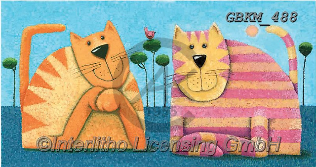Kate, CUTE ANIMALS, LUSTIGE TIERE, ANIMALITOS DIVERTIDOS, paintings+++++Cats & dogs page 18,GBKM488,#ac#, EVERYDAY ,cat,cats