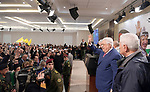 Palestinian President Mahmoud Abbas attends a ceremony marking the 54th anniversary of Fatah's founding, in the West Bank city of Ramallah, on December 31, 2018. Photo by Thaer Ganaim