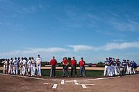 24 May 2009: Umpires pose next to Team Senart and Team La Guerche prior to a game during the 2009 challenge de France, a tournament with the best French baseball teams - all eight elite league clubs - to determine a spot in the European Cup next year, at Montpellier, France. Senart wins 8-5 over La Guerche.