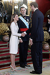 King Felipe VI of Spain and Queen Letizia of Spain with the spanish basketball player Pau Gasol during the reception at the Royal Palace after the King's official coronation at the parliamen. June 19 ,2014. (ALTERPHOTOS/Pool)