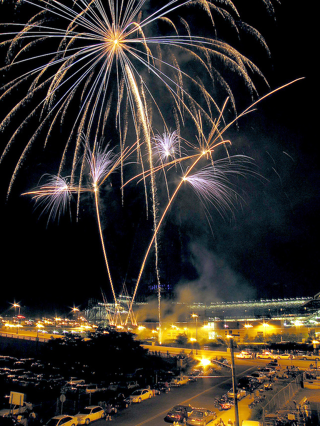 2005: Fireworks seen over Coors field in Denver, Colorado after a Colorado Rockies baseball game.