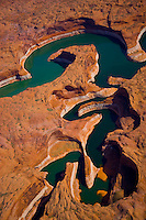 Curving lake channel, Glen Canyon National Recreation Area, Utah  Escalante Arm,  Lake Powell    Aerial view
