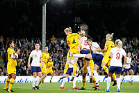 GOAL - Clare Polkinghorne of Australia Women heads the equaliser during the Women's international friendly match between England Women and Australia at Craven Cottage, London, England on 9 October 2018. Photo by Carlton Myrie / PRiME Media Images.