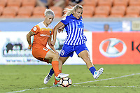 Houston, TX - Wednesday June 28, 2017: Janine van Wyk and Adriana Leon battle for control of the ball during a regular season National Women's Soccer League (NWSL) match between the Houston Dash and the Boston Breakers at BBVA Compass Stadium.