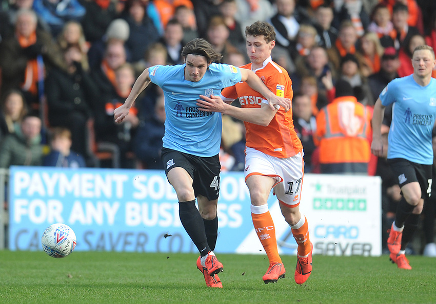 Southend United's Sam Hart under pressure from Blackpool's Matthew Virtue<br /> <br /> Photographer Kevin Barnes/CameraSport<br /> <br /> The EFL Sky Bet League One - Blackpool v Southend United - Saturday 9th March 2019 - Bloomfield Road - Blackpool<br /> <br /> World Copyright © 2019 CameraSport. All rights reserved. 43 Linden Ave. Countesthorpe. Leicester. England. LE8 5PG - Tel: +44 (0) 116 277 4147 - admin@camerasport.com - www.camerasport.com