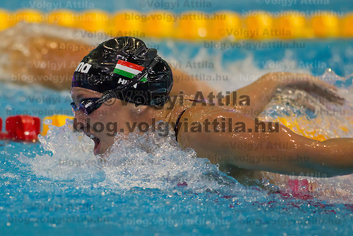 Katinka Hosszu of Hungary competes in the Women's 200m Butterfly final of the 31th European Swimming Championships in Debrecen, Hungary on May 27, 2012. ATTILA VOLGYI