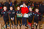 Geraldine O'Shea helped Camp Junior soccer club launch their 2019 Calendar at the Camp Sport Centre on Saturday. <br /> L-r, Mark Vansteenkiste, Adam O'Brien, Michael Keane, Geraldine O'Shea, Shay Griffin, Con O'Mehgan.