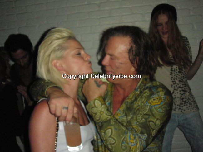 """**EXCLUSIVE**.Mickey Rourke with Kate Nauta of """"Tranporters"""" Movie..2009 VMA Awards Post Party Hosted by Unik..Cipriani Downtown..New York, NY, USA..Sunday, September 13, 2009. .Photo By Celebrityvibe.com.To license this image please call (212) 410 5354; or Email: celebrityvibe@gmail.com ;.website: www.celebrityvibe.com"""