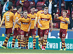 Craig Tanner (R) celebrates his goal for Motherwell
