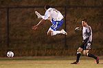 31 March 2007: Kansas City's Yura Movsisyan (17) leaps high but cannot block the clearance pass from Columbus goalkeeper Andy Gruenebaum (right). The Kansas City Wizards tied the Columbus Crew 0-0 at Spry Stadium in Winston-Salem, North Carolina in an MLS preseason match.
