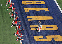 Ohio State Buckeyes football team warms up before their game against California Golden Bears at Memorial Stadium in Berkeley, California on September 14, 2013.  (Dispatch photo by Kyle Robertson)