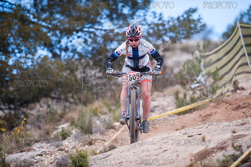 Chelva, SPAIN - MARCH 6: Noora Kanerva during Spanish Open BTT XCO on March 6, 2016 in Chelva, Spain