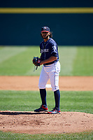 Binghamton Rumble Ponies starting pitcher Marcos Molina (29) gets ready to deliver a pitch during a game against the Altoona Curve on June 14, 2018 at NYSEG Stadium in Binghamton, New York.  Altoona defeated Binghamton 9-2.  (Mike Janes/Four Seam Images)