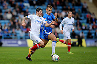 Matty Kennedy of Portsmouth tries to shake off a challenge from Gillingham's Jake Hessenthaler during Gillingham vs Portsmouth, Sky Bet EFL League 1 Football at the MEMS Priestfield Stadium on 8th October 2017