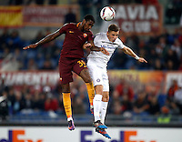 Calcio, Europa League, Gguppo E: Roma vs Austria Vienna. Roma, stadio Olimpico, 20 ottobre 2016.<br /> Roma's Gerson, left, and Austria Wien's Jens Stryger Larsen jump for the ball during the Europa League Group E soccer match between Roma and Austria Wien, at Rome's Olympic stadium, 20 October 2016. The game ended 3-3.<br /> UPDATE IMAGES PRESS/Isabella Bonotto