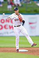Shortstop Jose Iglesias #10 of the Pawtucket Red Sox makes a throw to first base against the Charlotte Knights at McCoy Stadium on June 14, 2011 in Pawtucket, Rhode Island.  The Knights defeated the Red Sox 4-2 in 11 innings.    Photo by Brian Westerholt / Four Seam Images