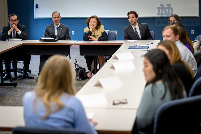 May 2, 2016; Deputy Secretary of the U.S. Department of the Treasury Sarah Bloom Raskin participates in a student roundtable discussion.  The event was part of Financial Security Day, a series of presentations and discussions for employers and nonprofit organizations in the region sponsored by The University of Notre Dame and the United Way of St. Joseph County. (Photo by Matt Cashore/University of Notre Dame)