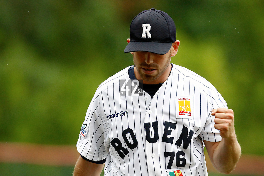 17 July 2011: Starting pitcher Jordan Crystal reacts as he pitches against Montpellier during the 2011 Challenge de France match won 3-1 by the Rouen Huskies over the Montpellier Barracudas at Stade Pierre Rolland, in Rouen, France.