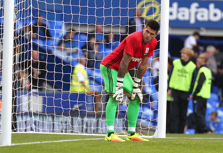 Middlesbrough's Victor Valdes during the pre-match warm-up <br /> <br /> Photographer Rich Linley/CameraSport<br /> <br /> The Premier League - Everton v Middlesbrough - Saturday 17th September 2016 - Goodison Park - Liverpool<br /> <br /> World Copyright &copy; 2016 CameraSport. All rights reserved. 43 Linden Ave. Countesthorpe. Leicester. England. LE8 5PG - Tel: +44 (0) 116 277 4147 - admin@camerasport.com - www.camerasport.com