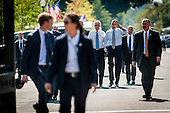 United States President Barack Obama and U.S. Vice President Joe Biden walk from the White House to nearby Taylor Gourmet Deli on Pennsylvania Ave for a take-out lunch. The reason he gave was they are starving and the establishment is giving a percent discount to furloughed government workers as an indication of how ordinary Americans are looking out for one another.<br /> Credit: Pete Marovich / Pool via CNP