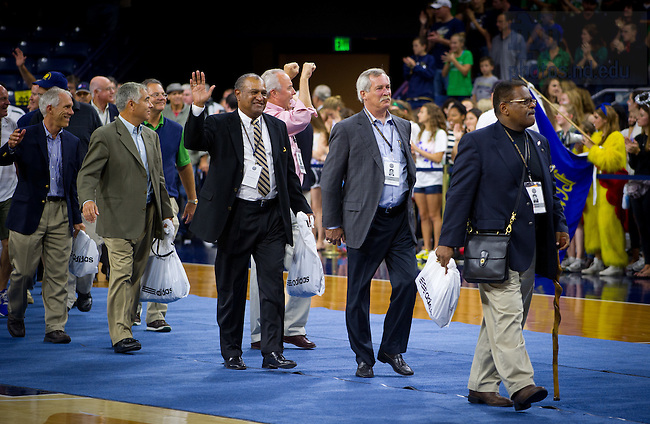 Sept. 20, 2013; The national champion 1973 team is honored at the Pep Rally before the Michigan State game.<br /> <br /> Photo by Matt Cashore/University of Notre Dame