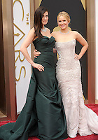 HOLLYWOOD, CA - MARCH 2: Idina Menzel, Kristen Bell arriving to the 2014 Oscars at the Hollywood and Highland Center in Hollywood, California. March 2, 2014. Credit: SP1/Starlitepics. /NORTePHOTO