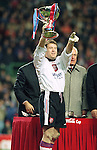 Andy Goram lifts the Coca-Cola League Cup after a 4-3 victory over Hearts