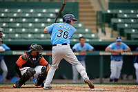 Tampa Bay Rays first baseman Brendan McKay (38) at bat in front of catcher Jean Carrillo (75) during an Instructional League game against the Baltimore Orioles on October 5, 2017 at Ed Smith Stadium in Sarasota, Florida.  (Mike Janes/Four Seam Images)