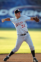 Connecticut Tigers shortstop Ryan Soares (31) during a double header vs. the Batavia Muckdogs at Dwyer Stadium in Batavia, New York July 10, 2010.  Connecticut dropped the first game 3-5 then defeated Batavia 8-1 in the night cap.  Photo By Mike Janes/Four Seam Images