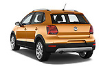 Car pictures of rear three quarter view of a 2015 Volkswagen Polo Cross 5 Door Hatchback 2WD Angular Rear